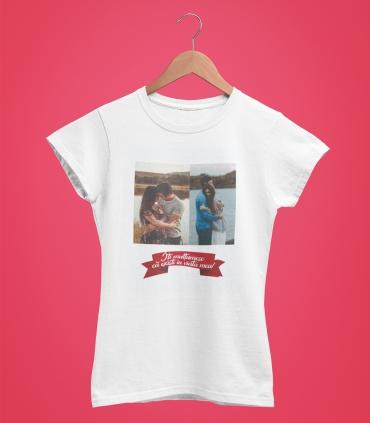 Tricou Personalizat Femei - Iti Multumesc Ca existi In Viata Mea - Doua Poze - 49 RON - 1